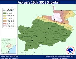 Columbia Zip Code Map by February 16th 2013 Snow Event