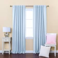 one pair silky blue curtain hanging on silver iron rod for window