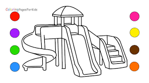 how to draw playground coloring pages for kids learn colors and
