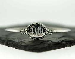 monogram bracelet sterling silver monogram bangle etsy