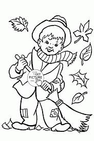 boy and fall leaves coloring pages for kids autumn printables