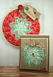 beautiful folded fabric star in embroidery hoop and apple card by