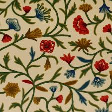 hand embroidered crewel fabric by the yard naqash