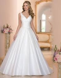 white wedding gowns designer new 2016 white wedding dresses v neck satin cheap chapel