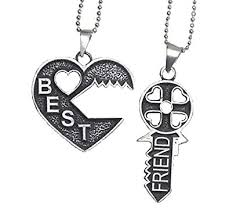 key necklace charms images Key puzzle best friend necklace 2 piece necklace bff jpg