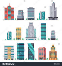 Modern City by Buildings Modern City Houses Flat Vector Stock Vector 638396383