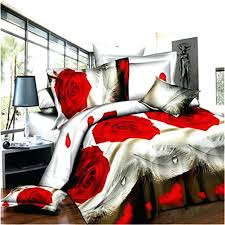 Customized Duvet Covers 3d Bedding Sets Black And Red Rose 3d Printing Duvet Cover With