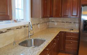 Travertine Subway Tile Kitchen Backsplash With A Mosaic Glass Tile - Square tile backsplash