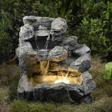 Fountains For Home Decor Landscape Rock Creek Cascading Fountain With Lights In The