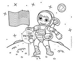 astronaut on the moon coloring pages with us flag for kids