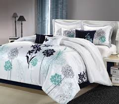 Comforters Bedding Sets Luxury 12pc Oasis White Navy Teal Bedding Set Bed In A Bag With