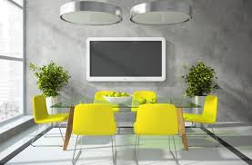 Tv In Dining Room Grey Dining Room With Tv And Yellow Chairs 3d House