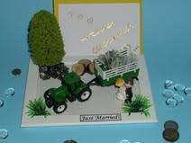 hochzeitsgeschenk geld verpacken lustig geldgeschenk hochzeit brautpaar traktor landwirt einladung