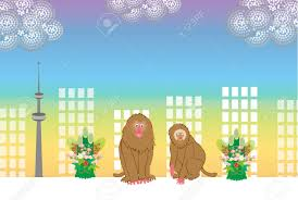 new year s postcards new year s postcards of monkeys skyscrapers and towers stock