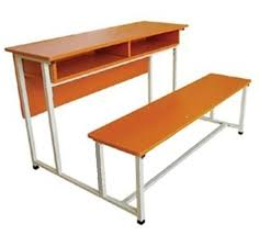 double desk and bench student desk attached chairs college