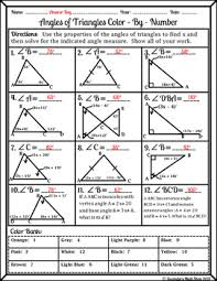 angles of triangles color by number wintery worksheet