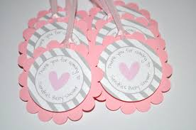 baby shower keepsakes baby shower favor tags pink and gray thank you tags