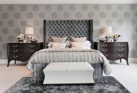 High Headboard Bed Grey High Headboard Bed For Bedroom Decoration With Bench