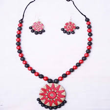 red necklace set images Red colour terracotta necklace set for women navodyami jpg