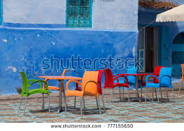 blue city morocco chair traditional moroccan courtyard chefchaouen blue city stock photo