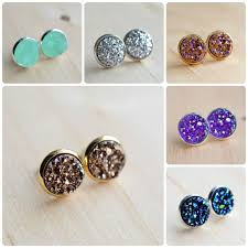 druzy stud earrings 60 colors on sale druzy stud earrings in silver or gold druzy