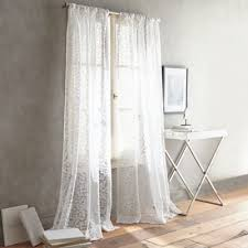 White Curtain Panel Dkny Halo Rod Pocket Sheer Window Curtain Panel In White