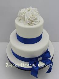 the sensational cakes white roses 2 tier blue wedding cake