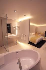 salle de bains dans chambre moderne avec salle de bain