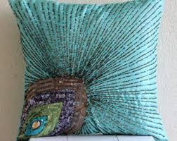 silk peacock home decor grace accent pillow etsy