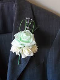 Mint Green Corsage 6 Ivory Mint Green Rose Corsage Buttonhole Wedding Flowers