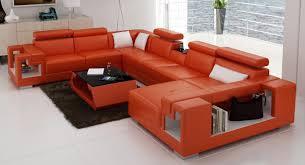 sofa orange leather sectional sofa fabulous vig furniture