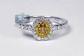 canary engagement ring womens yellow oval engagement ring 14k white gold