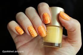nail art yellow and orange retro patterns 26gnai polished
