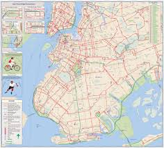Manhattan New York Map by New York City Cycling Map