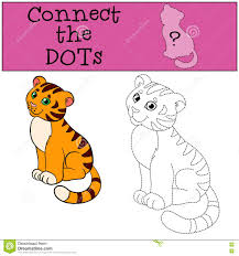 educational games for kids connect the dots little cute tiger