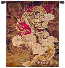 golden dragon tapestry wall hanging ethnic design h67