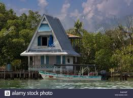 house on stilts over water with solar panels and dense tropical