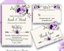 Wedding Invitations Purple Purple Hydrangea Wedding Invitation Floral Invitation Purple