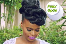 quick u0026 easy faux updo natural hair protective style youtube