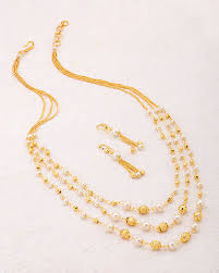 gold plated beads necklace images Buy designer necklace sets sanskriti gold plated beads and pearl jpg