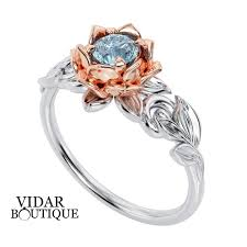 lotus flower engagement ring aquamarine lotus flower engagement ring vidar boutique vidar
