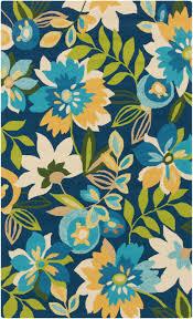 Navy White Area Rug Tropical Garden Blue Area Rug Coastal Decor Floor Cloth And Decking