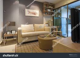 modern japanese style decorated livingroom kitchen stock photo