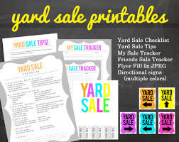 items similar to get organized yard sale printable pack for your