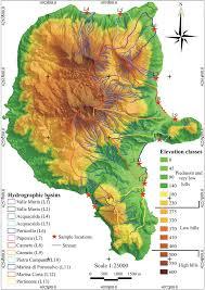 World Elevation Map by Colour Online Digital Elevation Map Of Lipari Island Figure
