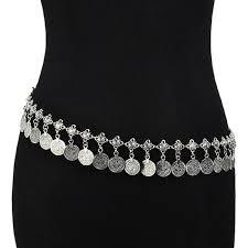sunscsc silver plated coin belly tassel waist