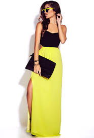 forever 21 neon pop maxi dress in yellow lyst