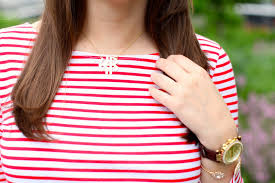 cheap monogram necklace stripe shirt summer style covering the bases fashion and