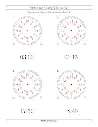 Time Clock Worksheets Sketching Time On 24 Hour Analog Clocks In 15 Minute Intervals