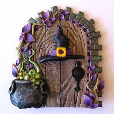 polymer clay home decor witch hat and bubbling cauldron halloween door holiday decor